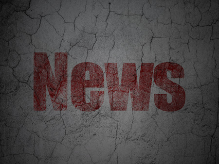 News concept: Red News on grunge textured concrete wall background, 3d render photo