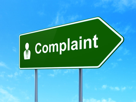 Law concept: Complaint and Business Man icon on green road (highway) sign, clear blue sky background, 3d render photo