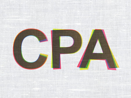 cpa: Business concept: CMYK CPA on linen fabric texture background, 3d render