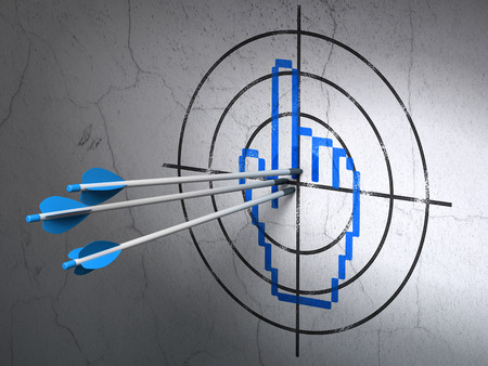 Success web design concept: arrows hitting the center of Blue Mouse Cursor target on wall background, 3d render photo
