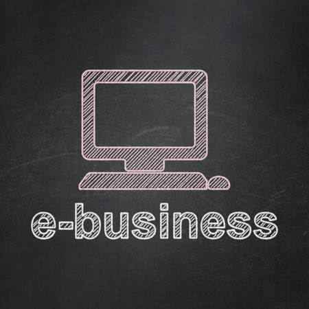 Business concept: Computer Pc icon and text E-business on Black chalkboard background, 3d render photo