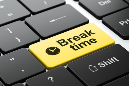 Time concept: computer keyboard with Clock icon and word Break Time, selected focus on enter button, 3d render photo
