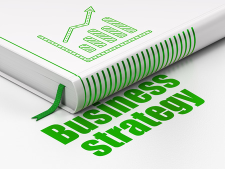 Business concept: closed book with Green Growth Graph icon and text Business Strategy on floor, white background, 3d render photo