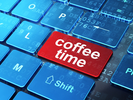 Time concept: computer keyboard with word Coffee Time on enter button background, 3d render photo