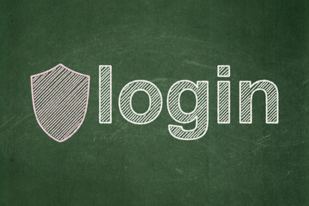 Privacy concept: Shield icon and text Login on Green chalkboard background, 3d render photo