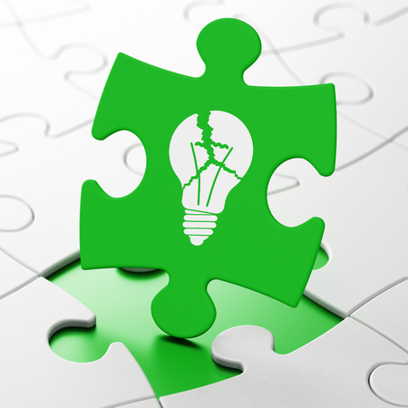 Business concept: Light Bulb on Green puzzle pieces background, 3d render photo