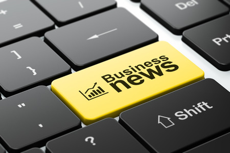 News concept: computer keyboard with Growth Graph icon and word Business News, selected focus on enter button, 3d render photo
