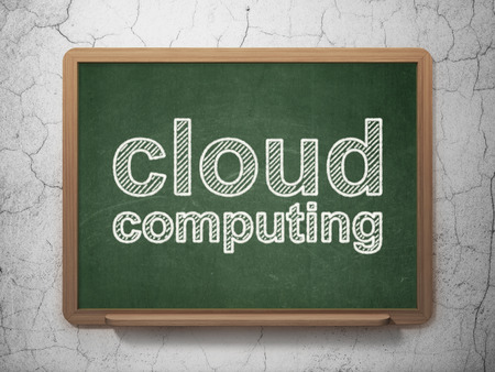 Cloud computing concept: text Cloud Computing on Green chalkboard on grunge wall background, 3d render photo