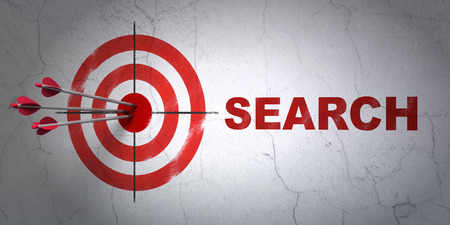 Success web design concept: arrows hitting the center of target, Red Search on wall background, 3d render photo