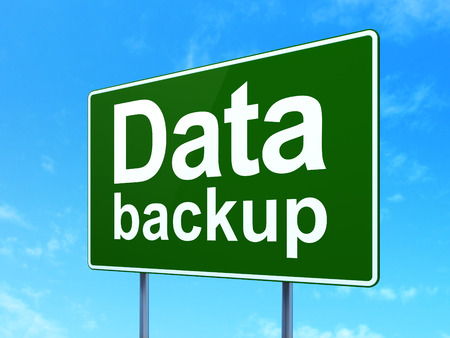 Data concept: Data Backup on green road (highway) sign, clear blue sky background, 3d render photo
