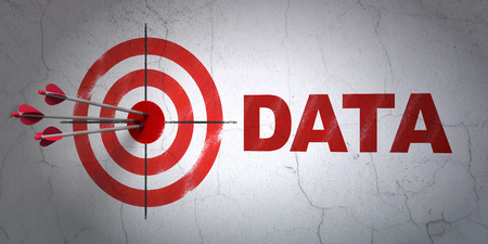 Success Data concept: arrows hitting the center of target, Red Data on wall background, 3d render photo