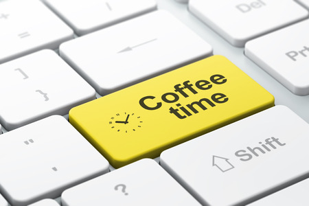 Time concept: computer keyboard with Clock icon and word Coffee Time, selected focus on enter button, 3d render photo
