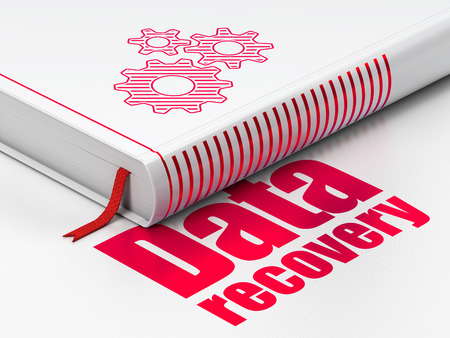Data concept: closed book with Red Gears icon and text Data Recovery on floor, white background, 3d render photo