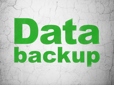 Information concept: Green Data Backup on textured concrete wall background, 3d render photo
