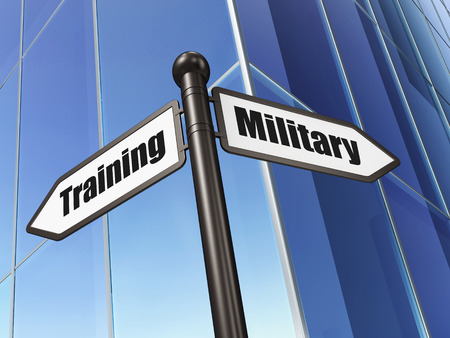 Education concept: sign Military Training on Building background, 3d render photo