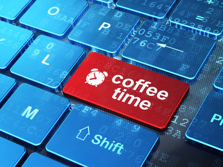 Time concept: computer keyboard with Alarm Clock icon and word Coffee Time on enter button background, 3d render photo