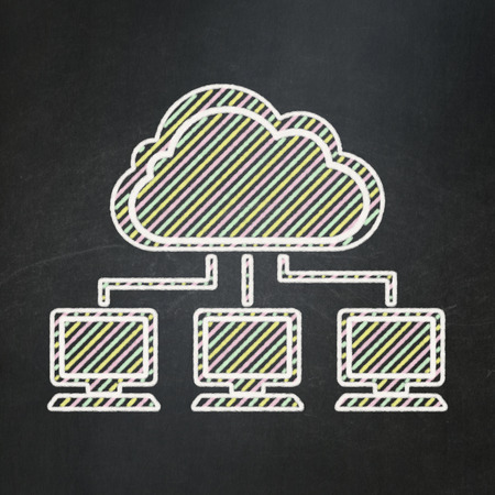 Cloud technology concept: Cloud Network icon on Black chalkboard background, 3d render photo