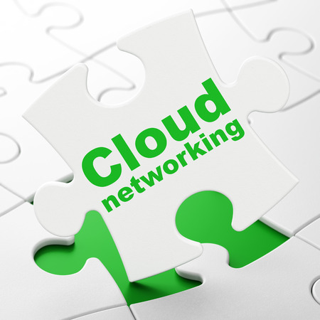 Cloud technology concept: Cloud Networking on White puzzle pieces background, 3d render photo