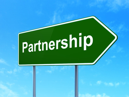 Business concept: Partnership on green road (highway) sign, clear blue sky background, 3d render photo