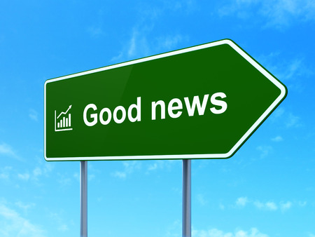 News concept: Good News and Growth Graph icon on green road (highway) sign, clear blue sky background, 3d render photo