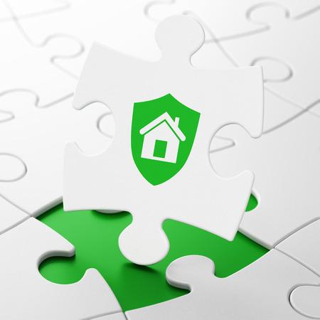Finance concept: Shield on White puzzle pieces background, 3d render photo