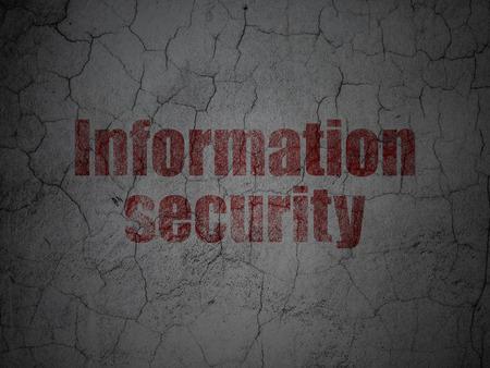 Security concept: Red Information Security on grunge textured concrete wall background, 3d render Reklamní fotografie