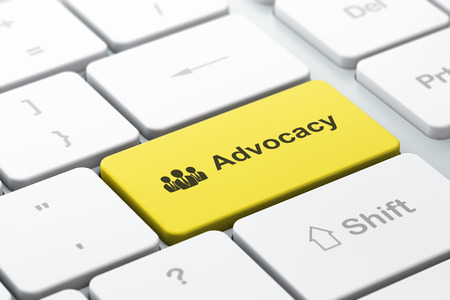 advocacy: Law concept: computer keyboard with Business People icon and word Advocacy, selected focus on enter button, 3d render
