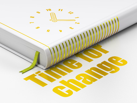 Timeline concept: closed book with Gold Clock icon and text Time for Change on floor, white background, 3d render photo