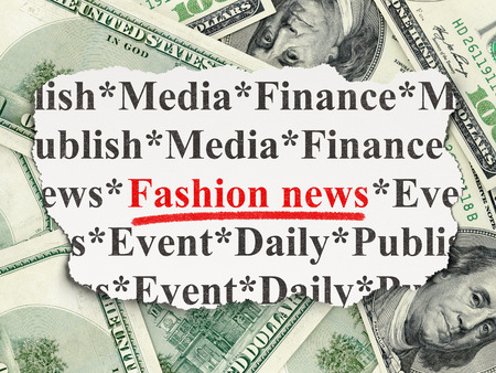 News concept: torn newspaper with words Fashion News on Money background, 3d render photo