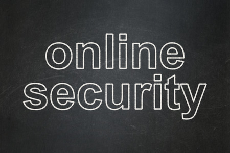 Safety concept: text Online Security on Black chalkboard background, 3d render photo