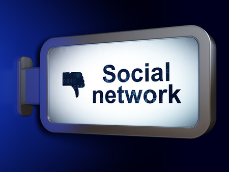 Social media concept: Social Network and Thumb Down on advertising billboard background, 3d render photo