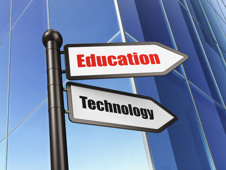 Education concept: sign Education Technology on Building background, 3d render photo