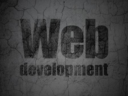 Web design concept: Black Web Development on grunge textured concrete wall background, 3d render photo