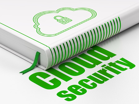 Protection concept: closed book with Green Cloud With Padlock icon and text Cloud Security on floor, white background, 3d render photo