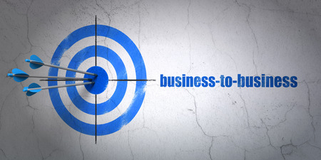 Success finance concept: arrows hitting the center of target, Blue Business-to-business on wall background, 3d render photo