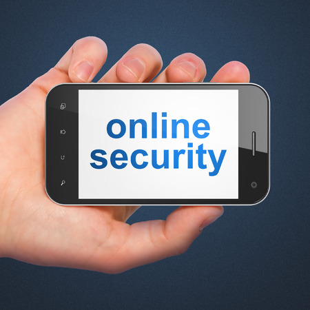 online privacy: Privacy concept: hand holding smartphone with word Online Security on display. Mobile smart phone on Blue background, 3d render