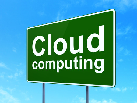 Cloud computing concept: Cloud Computing on green road (highway) sign, clear blue sky background, 3d render photo