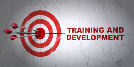 Success Education concept: arrows hitting the center of target, Red Training and Development on wall background, 3d render photo