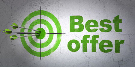 Success business concept: arrows hitting the center of target, Green Best Offer on wall background, 3d render photo