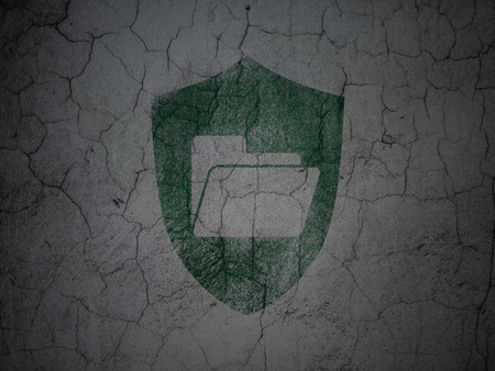 Business concept: Green Folder With Shield on grunge textured concrete wall background, 3d render photo