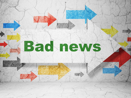 bad news: News concept:  arrow with Bad News on grunge textured concrete wall background, 3d render