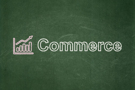 Business concept: Growth Graph icon and text Commerce on Green chalkboard background, 3d render photo