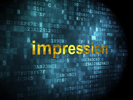 Marketing concept: pixelated words Impression on digital background, 3d render photo