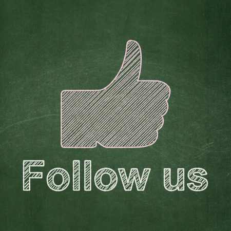 Social network concept: Thumb Up icon and text Follow us on Green chalkboard background, 3d render photo