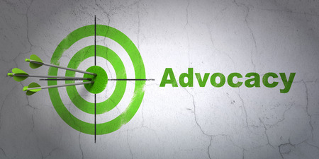 Success law concept: arrows hitting the center of target, Green Advocacy on wall background, 3d render photo