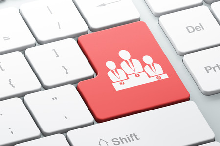 News concept: Enter button with Business Team on computer keyboard background, 3d render photo