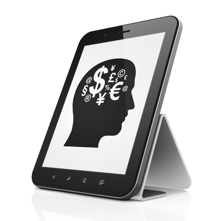 Business concept: black tablet pc computer with Head With Finance Symbol icon on display. Modern portable touch pad on White background, 3d render photo