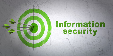 Success security concept: arrows hitting the center of target, Green Information Security on wall background, 3d render photo