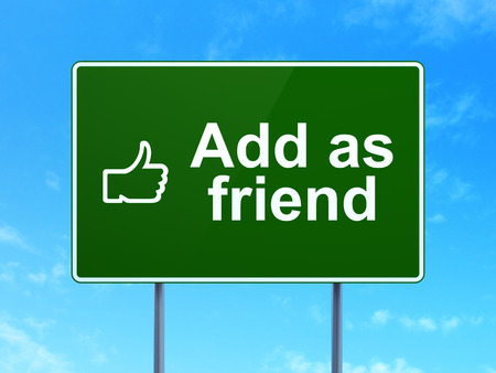 Social media concept: Add as Friend and Thumb Up icon on green road (highway) sign, clear blue sky background, 3d render photo