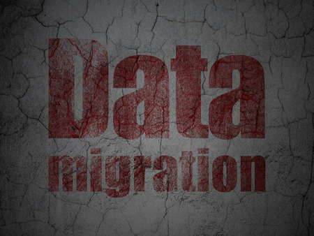 migration: Information concept: Red Data Migration on grunge textured concrete wall background, 3d render Stock Photo